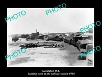 OLD LARGE HISTORIC PHOTO OF GERALDTON WA, LOADING WOOL AT RAILWAY STATION c1910