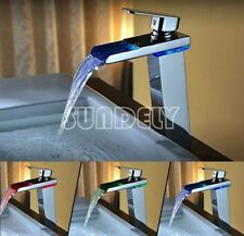 sundely Tall Bathroom LED Color Change Sink Basin Waterfall Mixer Tap Faucet