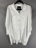 Bitte Kai Rand Size Large L Ivory White Arty Lagenlook Shirt Dress Cotton Blend