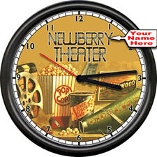 Personalized Movie Theater Cinema Home Concession Vintage Retro Sign Wall Clock