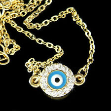 w Swarovski Crystal Dainty Gold P Round Evil Eye Turquoise Circle Charm Necklace