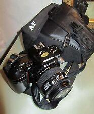 Macchina Fotografica Reflex Nikon AF F-801 con Nikkor 35-70 tappo e custodia