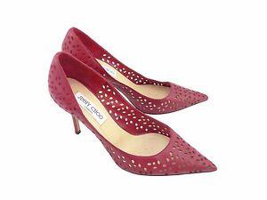 Jimmy Choo Agnes Raspberry Perforated Nappa Leather ~ UK 5.5 / EU 38.5 / US 8.5