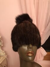 Mahogany Knit Stretch Mink Hat with a Pom Pom