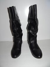 Womens Black Bongo Easy Pull On  Long Tall  Boots Shoes Sz 9.5M  Free Shipping