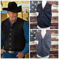 Wyoming Traders Mens Buckaroo Wool Button Up Western Cowboy Vest