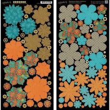 """2013 Graphic 45 """" STEAMPUNK SPELLS """" Flowers Die Cuts (2) 6""""x12"""" Sheets 4500696"""