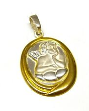 925 Sterling Silver Angel / Cherub Oval Pendant with 9ct Gold Detail NO CHAIN