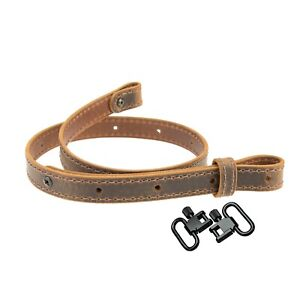 Buffalo Leather Rifle Sling_Crazy Horse, Brown  Amish Handmade, Swivels Included