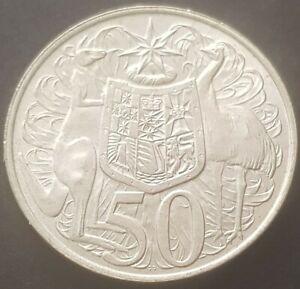 Australian 1966 round 50 cent coin - 80% silver