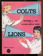 1956 Colts v Detroit Lions Program Johnny Unitas 1st Game Played In 10/6 44346
