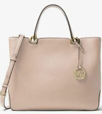Michael Kors Leather Anabelle Large Top Zip Tote Bag Soft Pink Handbag AUTHENTIC