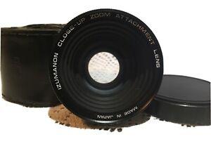 Vintage Izumanon Close-up Zoom Attachment Lens  55mm, Cap + Vintage Leather Case