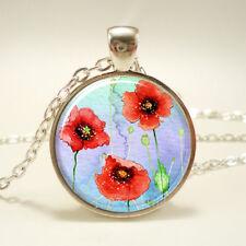 Vintage Cabochon Glass necklace Poppy flower jewelry Silver Charm pendant