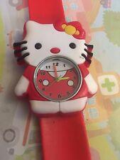 Reloj Pulsera Hello Kitty de Cuarzo Correa fácil de niños niñas regalo rojo Slap ESY1