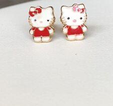 14K Yellow Gold Enamel Hello Kitty Baby Screw Back Earrings/Aretes de ninas oro