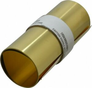 """Made in USA 100"""" Long x 6"""" Wide x 0.005 Inch Thick, Brass Roll Shim Stock"""