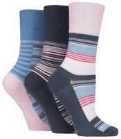 3 Pairs Ladies Grey Blue Pink Stripe Cotton Gentle Grip Socks, UK Size 4-8