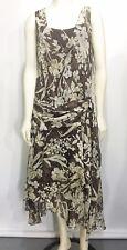 Anne Klein Womens 14 Brown Floral Reverie Silk Dress Sleeveless Handkerchief NEW