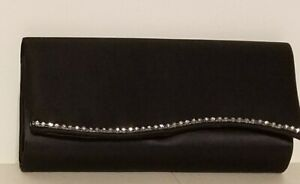Rhinestones Black Satin Evening Bag With Silver Chain or Black Rope Strap