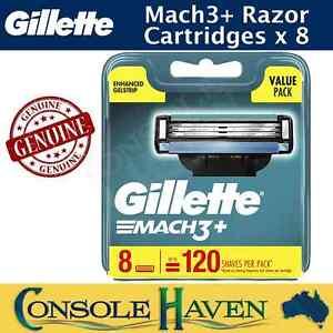 Gillette Mach3+ Genuine Razor Blade Cartridges x 8 Pack Mach 3 Plus 8pk