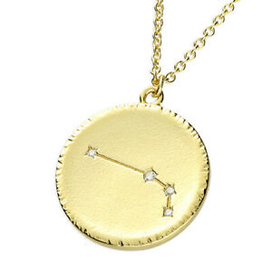 """Zodiac ARIES Sterling Silver Yellow Gold  Pendant 17.5"""" Necklace"""