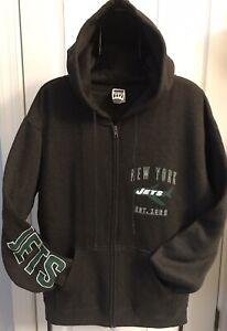 *NEW* NEW YORK JETS Full Zip Hoodie (Sz L)~Dk Gray (Jets Vintage Logo)FREE SHIP!