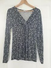 JoJo Maman Bebe Black White Grey Floral Long Sleeve Jersey Top Small