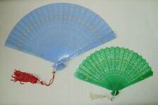 "Vintage 2 pierced plastic folding hand fans jade green 5"", blue 7"""