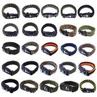 Paracord Survival Bracelet Compass Flint Fire Starter Whistle Scraper Gear Kits