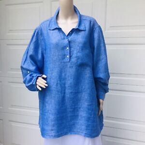 MINT!  Eileen Fisher Woman 1X 2X Blue Linen Oversized Shirt Top Tunic Blouse