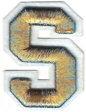"2 3/8"" x 2 1/2"" Metallic Gold Blue White Felt 3D Raised Letter S Patch"