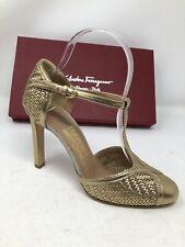 $725 New Salvatore Ferragamo Womens Shoes Gold Pumps Heels 6.5 C US 37 EU