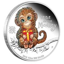 2016 Tuvalu BABY MONKEY Colorized 1/2 oz. Silver Proof