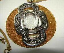 Vintage gold tone mesh glass cameo pendant necklace