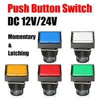 Momentary /Latching Push Button Switch Rectangular DC 12V/24V LED Light 5Pin New