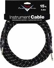 Fender Custom Shop BLACK TWEED Electric Guitar Cable, Straight Ends, 15' ft