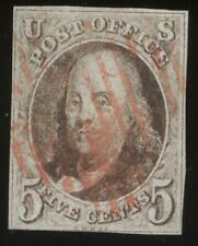 US, #1, Ben Franklin, USED Stamp, 4 margins, red cancel,  sound copy !