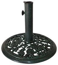 18 in Round Cast Iron Rosette Patio Umbrella Base – Verdigris Green