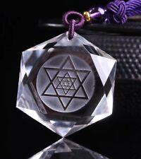 Star of David Pendant Natural Clear Quartz Crystal Hexagon NecklaceReiki Healing