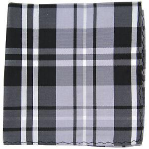 New men's polyester woven plaid hankie pocket square formal black gray white