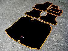 Car Mats in Black/Orange to fit Audi S3 8P (2006-2012) + S3 Logos + Boot Mat