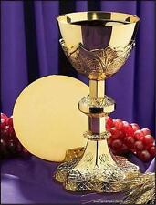 """Catholic 24Kt Gold Plated Chalice Set 12 oz. 9.25""""H x 4.5""""D with Paten 5.5""""D"""