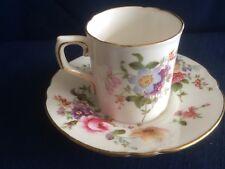 Royal Crown Derby Derby Posies coffee can & saucer (rim gilt wear)