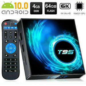 2021 T95 Android 10.0 TV Box Quad Core 4GB + 64GB HD Media Player WIFI HDMI UK