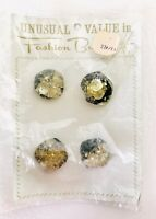 New on Card Unusual Value In Fashion Buttons Vintage (4) Black Clear Gold