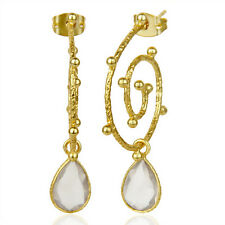 14k Gold Plated Bezel Set Drop Earrings Elegant Womens Fashion Brass Jewelry