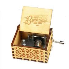 Birthday Souvenir Gifts Happy Birthday Song Hand Crank Wooden Music Box