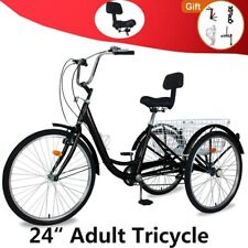 "Adult Tricycle 24"" 7Speed Trike 3Wheel Bike w/Folding Basket for Shopping &work"