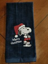 Embroidered Velour Hand Towel - Snoopy - Merry Christmas - Navy Towel